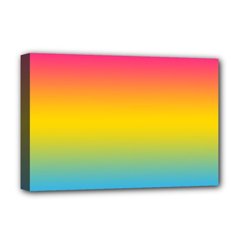 Pink Orange Green Blue Deluxe Canvas 18  x 12   by AnjaniArt