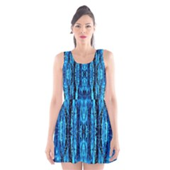 Bright Blue Turquoise  Black Pattern Scoop Neck Skater Dress by Costasonlineshop