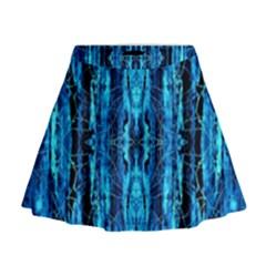 Bright Blue Turquoise  Black Pattern Mini Flare Skirt by Costasonlineshop
