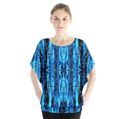 Bright Blue Turquoise  Black Pattern Blouse by Costasonlineshop