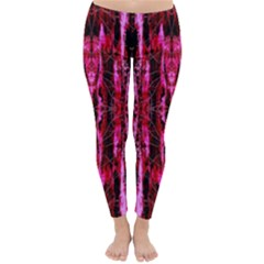 Pink Burgundy Traditional Pattern Classic Winter Leggings by Costasonlineshop