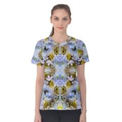 Blue Yellow Flower Girly Pattern, Women s Cotton Tee by Costasonlineshop