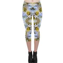 Blue Yellow Flower Girly Pattern, Capri Leggings  by Costasonlineshop