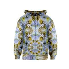 Blue Yellow Flower Girly Pattern, Kids  Zipper Hoodie by Costasonlineshop