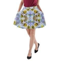Blue Yellow Flower Girly Pattern, A Line Pocket Skirt by Costasonlineshop