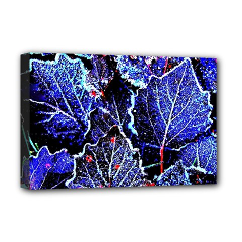 Blue Leaves In Morning Dew Deluxe Canvas 18  x 12   by Costasonlineshop