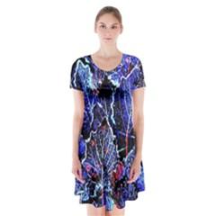 Blue Leaves In Morning Dew Short Sleeve V Neck Flare Dress by Costasonlineshop