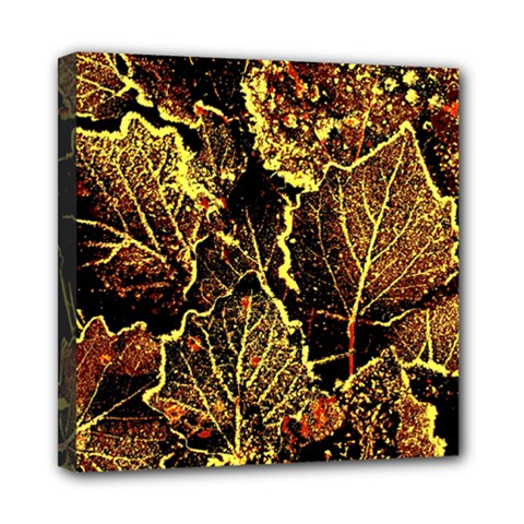 Leaves In Morning Dew,yellow Brown,red, Mini Canvas 8  X 8  by Costasonlineshop
