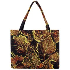Leaves In Morning Dew,yellow Brown,red, Mini Tote Bag by Costasonlineshop