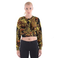 Leaves In Morning Dew,yellow Brown,red, Women s Cropped Sweatshirt by Costasonlineshop
