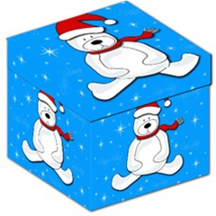 Polar Bear   Blue Storage Stool 12   by Valentinaart