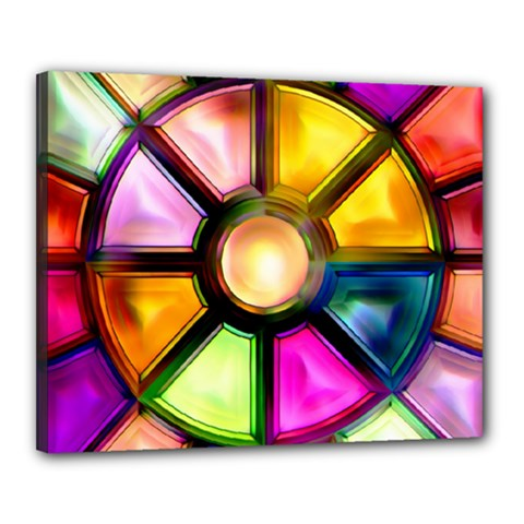 Glass Colorful Stained Glass Canvas 20  X 16  by Onesevenart