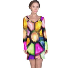 Glass Colorful Stained Glass Long Sleeve Nightdress by Onesevenart