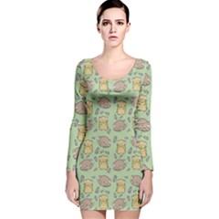 Hamster Pattern Long Sleeve Velvet Bodycon Dress by Onesevenart