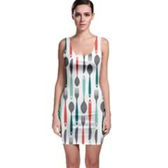 Spoon Fork Knife Pattern Sleeveless Bodycon Dress by Onesevenart