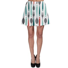 Spoon Fork Knife Pattern Skater Skirt by Onesevenart