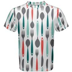 Spoon Fork Knife Pattern Men s Cotton Tee by Onesevenart
