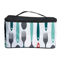 Spoon Fork Knife Pattern Cosmetic Storage Case by Onesevenart