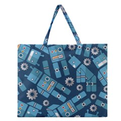Seamless Pattern Robot Zipper Large Tote Bag by Onesevenart