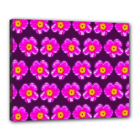 Pink Flower Pattern On Wine Red Canvas 20  X 16  by Costasonlineshop