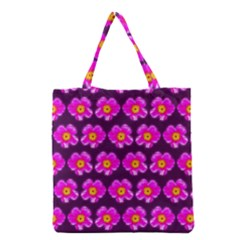 Pink Flower Pattern On Wine Red Grocery Tote Bag by Costasonlineshop