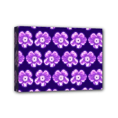 Purple Flower Pattern On Blue Mini Canvas 7  X 5  by Costasonlineshop