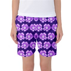 Purple Flower Pattern On Blue Women s Basketball Shorts by Costasonlineshop