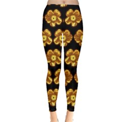 Yellow Brown Flower Pattern On Brown Leggings  by Costasonlineshop
