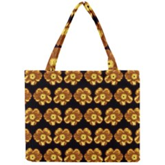 Yellow Brown Flower Pattern On Brown Mini Tote Bag by Costasonlineshop