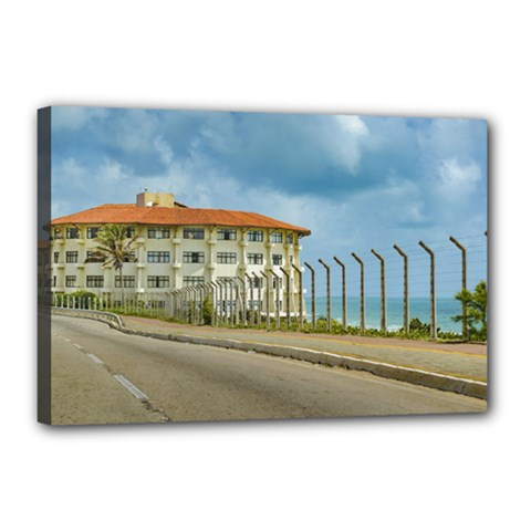 Eclectic Style Building Natal Brazil Canvas 18  X 12  by dflcprints