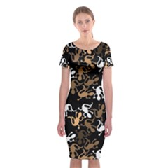Brown Lizards Pattern Classic Short Sleeve Midi Dress by Valentinaart