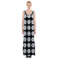 Circles1 Black Marble & Gray Marble Maxi Thigh Split Dress by trendistuff