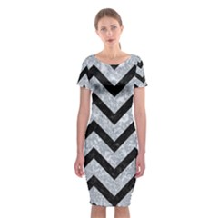 Chevron9 Black Marble & Gray Marble (r) Classic Short Sleeve Midi Dress by trendistuff