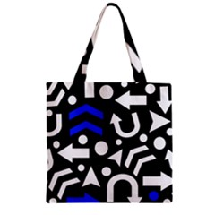 Right Direction   Blue  Zipper Grocery Tote Bag by Valentinaart