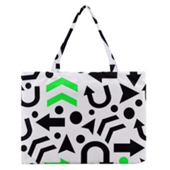 Green Right Direction  Medium Zipper Tote Bag by Valentinaart