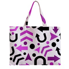 Magenta Direction Pattern Zipper Mini Tote Bag by Valentinaart