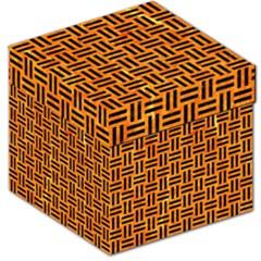WOV1 BK-OR MARBLE (R) Storage Stool 12   by trendistuff