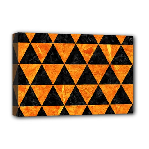 Triangle3 Black Marble & Orange Marble Deluxe Canvas 18  X 12  (stretched) by trendistuff