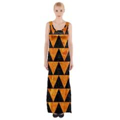 Triangle2 Black Marble & Orange Marble Maxi Thigh Split Dress by trendistuff