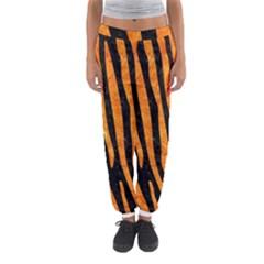 Skin4 Black Marble & Orange Marble (r) Women s Jogger Sweatpants by trendistuff