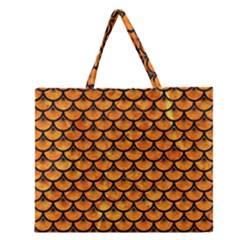 Scales3 Black Marble & Orange Marble (r) Zipper Large Tote Bag by trendistuff