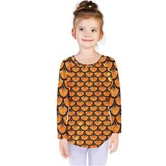 Scales3 Black Marble & Orange Marble (r) Kids  Long Sleeve Tee by trendistuff