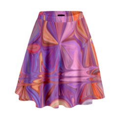 Candy Abstract Pink, Purple, Orange High Waist Skirt by theunrulyartist