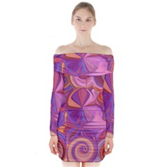 Candy Abstract Pink, Purple, Orange Long Sleeve Off Shoulder Dress by theunrulyartist