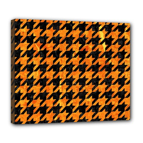 Houndstooth1 Black Marble & Orange Marble Deluxe Canvas 24  X 20  (stretched) by trendistuff