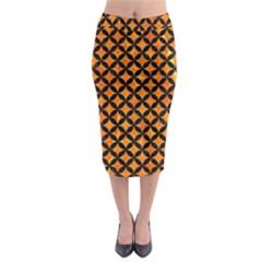 Circles3 Black Marble & Orange Marble (r) Midi Pencil Skirt by trendistuff
