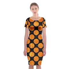 CIR2 BK-OR MARBLE Classic Short Sleeve Midi Dress by trendistuff