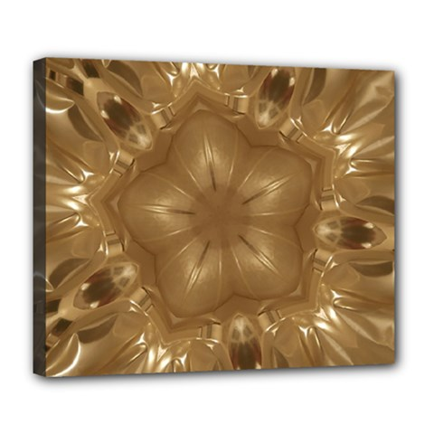 Elegant Gold Brown Kaleidoscope Star Deluxe Canvas 24  X 20   by yoursparklingshop