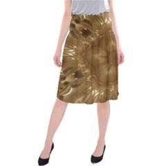 Elegant Gold Brown Kaleidoscope Star Midi Beach Skirt by yoursparklingshop