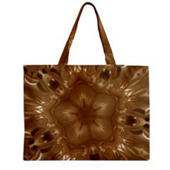Elegant Gold Brown Kaleidoscope Star Medium Zipper Tote Bag by yoursparklingshop